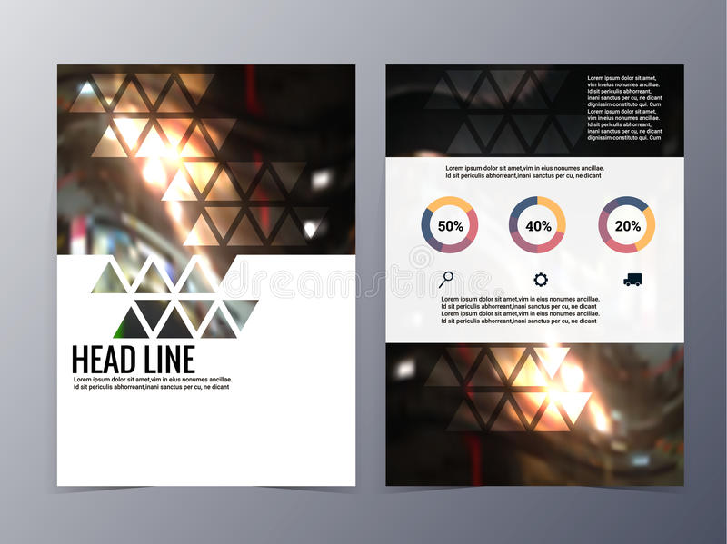 Business and technology brochure design template vector tri-fold. In A4size for use as company annual report, poster,flyer vector illustration