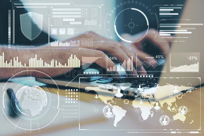 Business technology concept with data analysis on digital screen and man hands typing on laptop. Double exposure royalty free stock photo