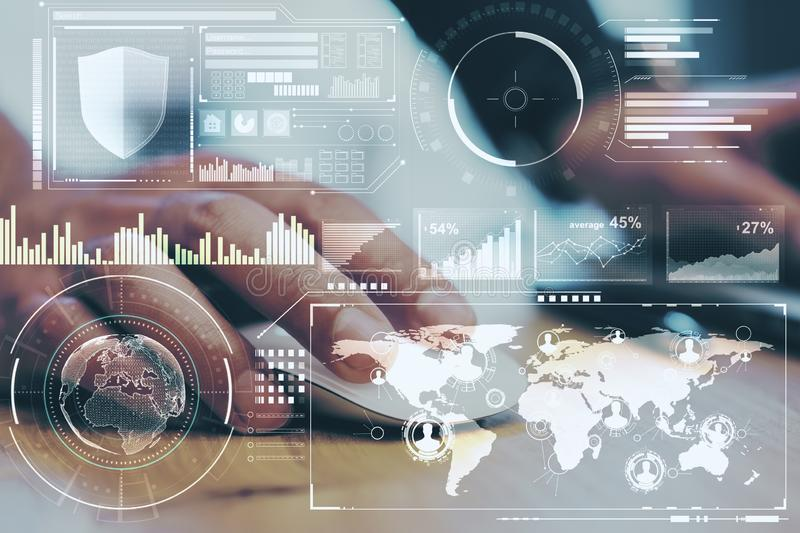 Business technology concept with digital screen with diagram and graphs and hand with computer mouse. Double exposure royalty free stock photos