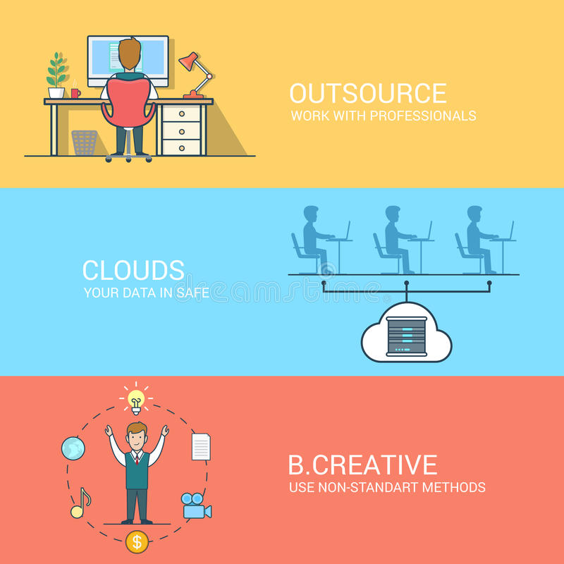 Business technology creative concept flat icons se royalty free illustration