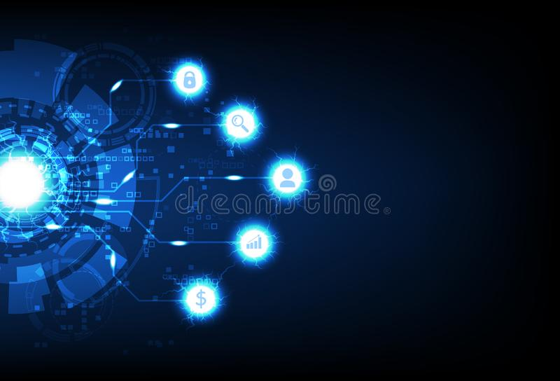 Business technology, Digital futuristic pixelate computer, data information, sign and symbol neon electric blue light sparkle royalty free illustration
