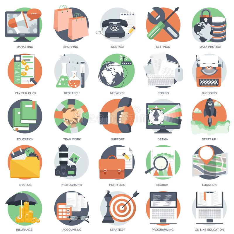 Business, technology and finances icon set for websites and mobile applications and services. Flat vector stock illustration