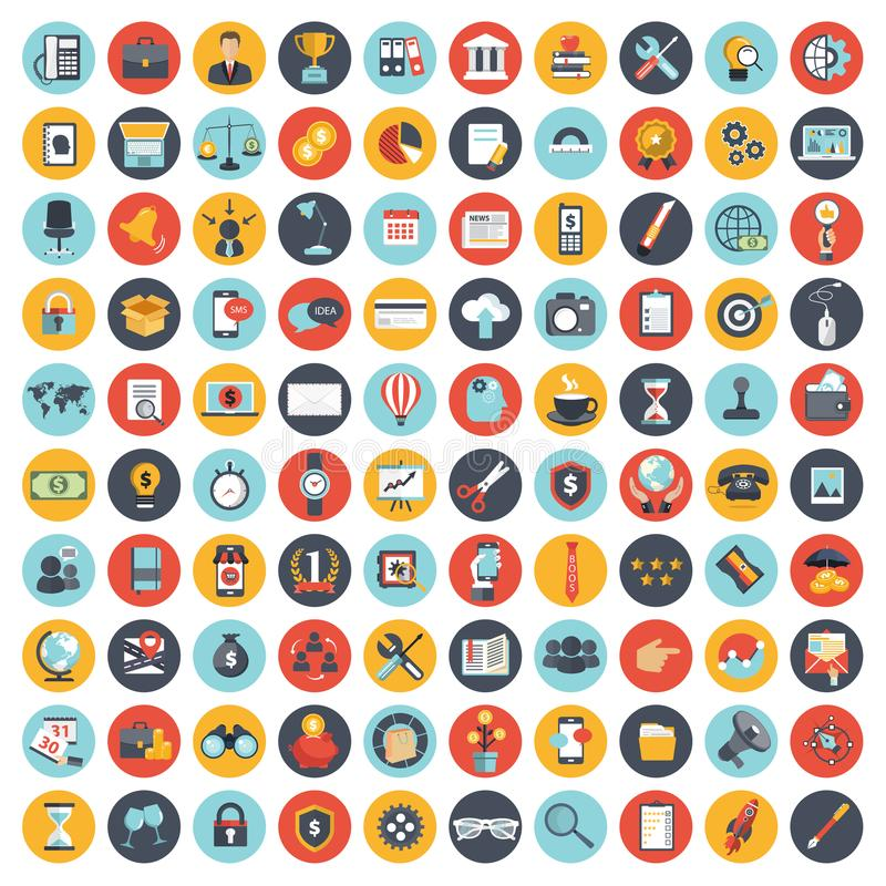 Business, technology and finances icon set for websites and mobile applications and services. Flat vector. Illustration royalty free illustration