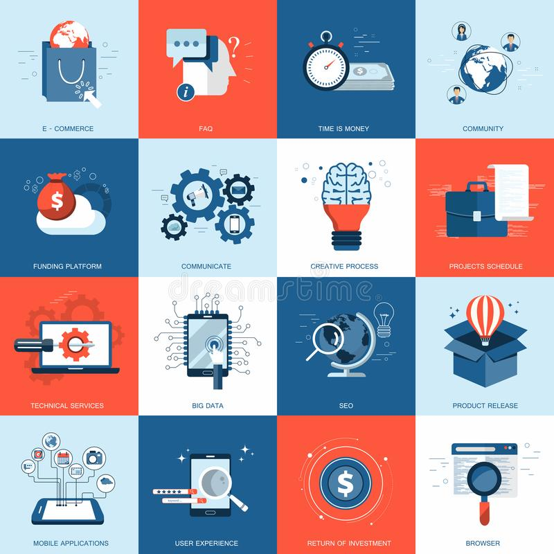 Business and technology icon set for websites and mobile applications. Flat vector royalty free illustration