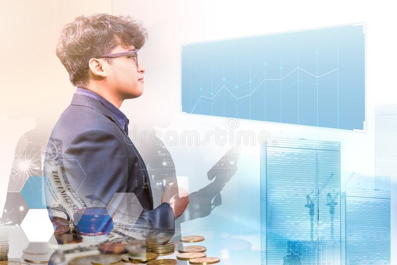 Business on technology. Technology and innovation for business successful stock photos