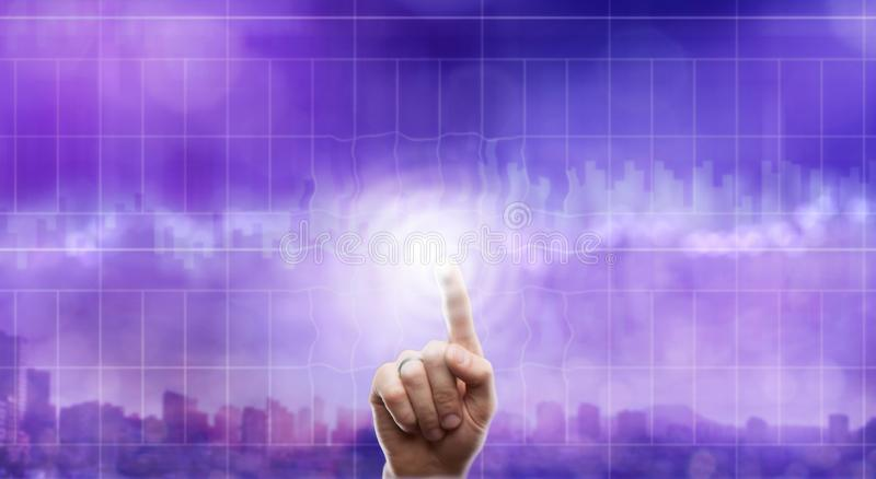 Business, technology and internet concept - businessman pressing transparent button on virtual screens royalty free stock photo