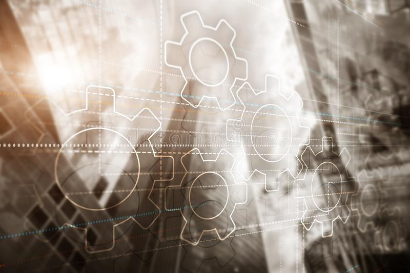 Business technology internet concept double exposure gears abstract background stock image