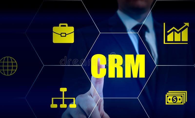 Business, technology, internet and customer relationship management concept. Businessman pressing crm button on virtual stock photos