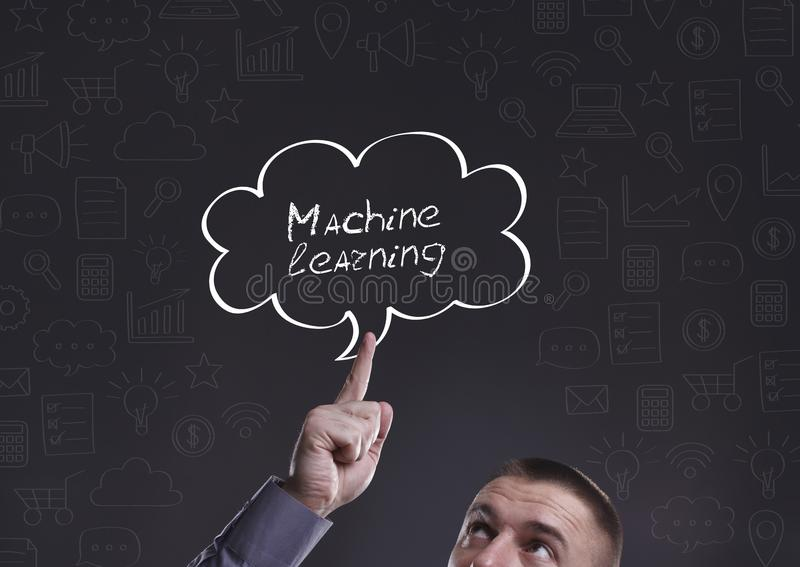 Business, Technology, Internet and marketing. Young businessman. Thinking about: Machine learning stock images