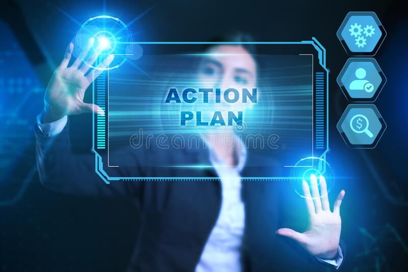 Business, Technology, Internet and network concept. Businessman presses a button action plan on the virtual screen tablet future stock photo