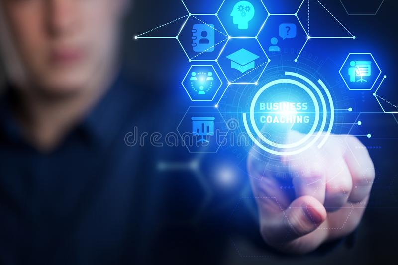 Business, Technology, Internet and network concept. Coaching mentoring education business training development E-learning concept stock photography