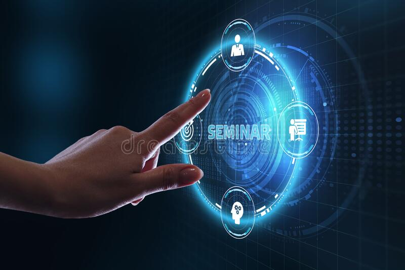 Business, Technology, Internet and network concept. Webinar e-learning. Training concept.  stock photography