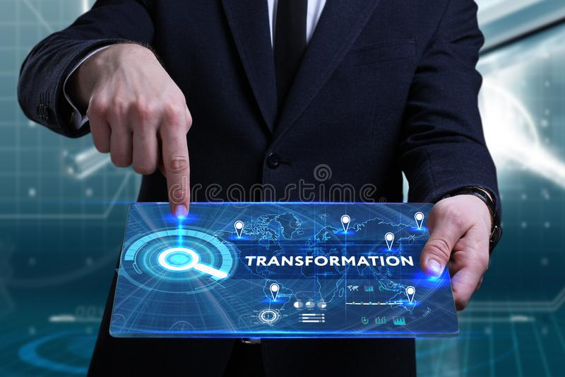 Business, Technology, Internet and network concept. Young businessman working on a virtual screen of the future and sees royalty free stock photography
