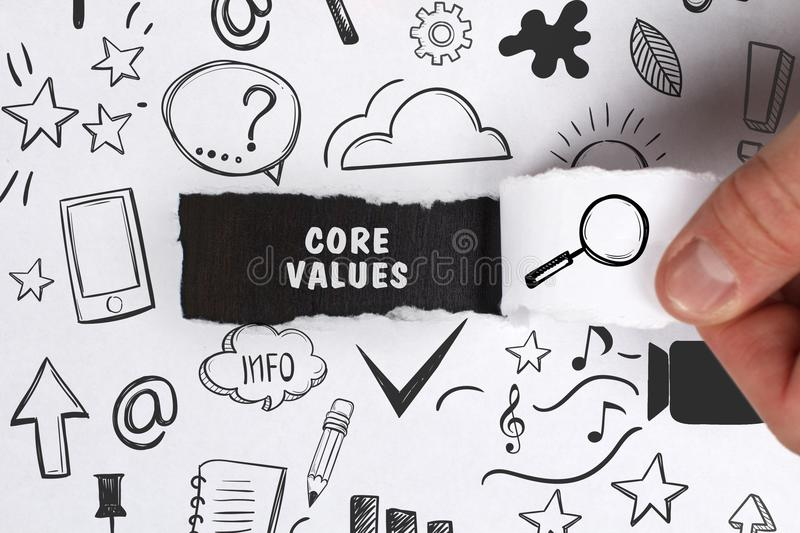 Business, Technology, Internet and network concept. Young businessman shows the word: Core values stock image