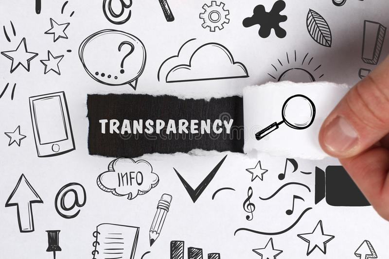 Business, Technology, Internet and network concept. Young businessman shows the word: Transparency stock photography