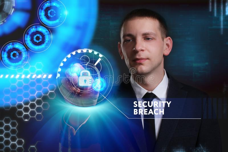 Business, Technology, Internet and network concept. Young businessman working on a virtual screen of the future and sees. The inscription: Security breach stock image