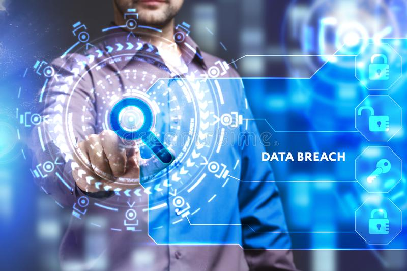 Business, Technology, Internet and network concept. Young businessman working on a virtual screen of the future and sees. The inscription: Data breach stock photos