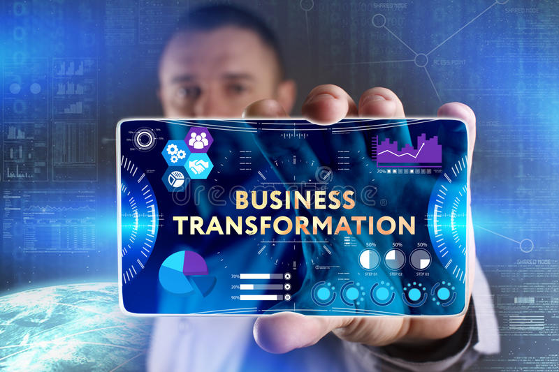 Business, Technology, Internet and network concept. Young businessman showing a word in a virtual tablet of the future: Business stock photography