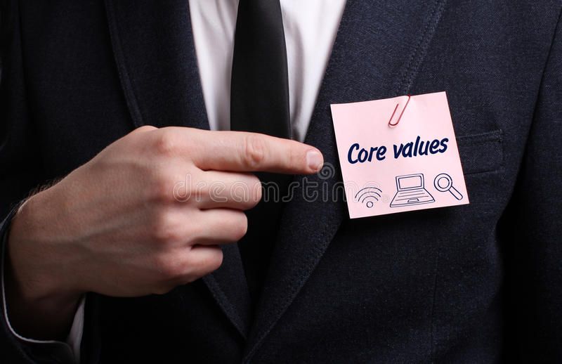 Business, Technology, Internet and network concept. Young businessman shows the word: Core values royalty free stock photo