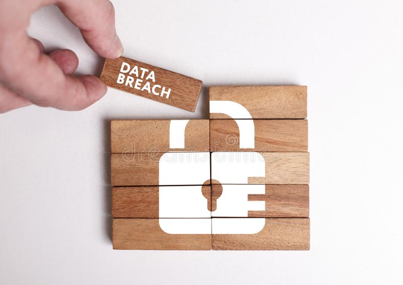 Business, Technology, Internet and network concept. Young businessman shows the word: Data breach royalty free stock image