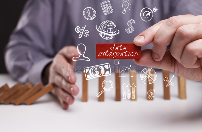Business, Technology, Internet and network concept. Young businessman shows the word: data integration stock images