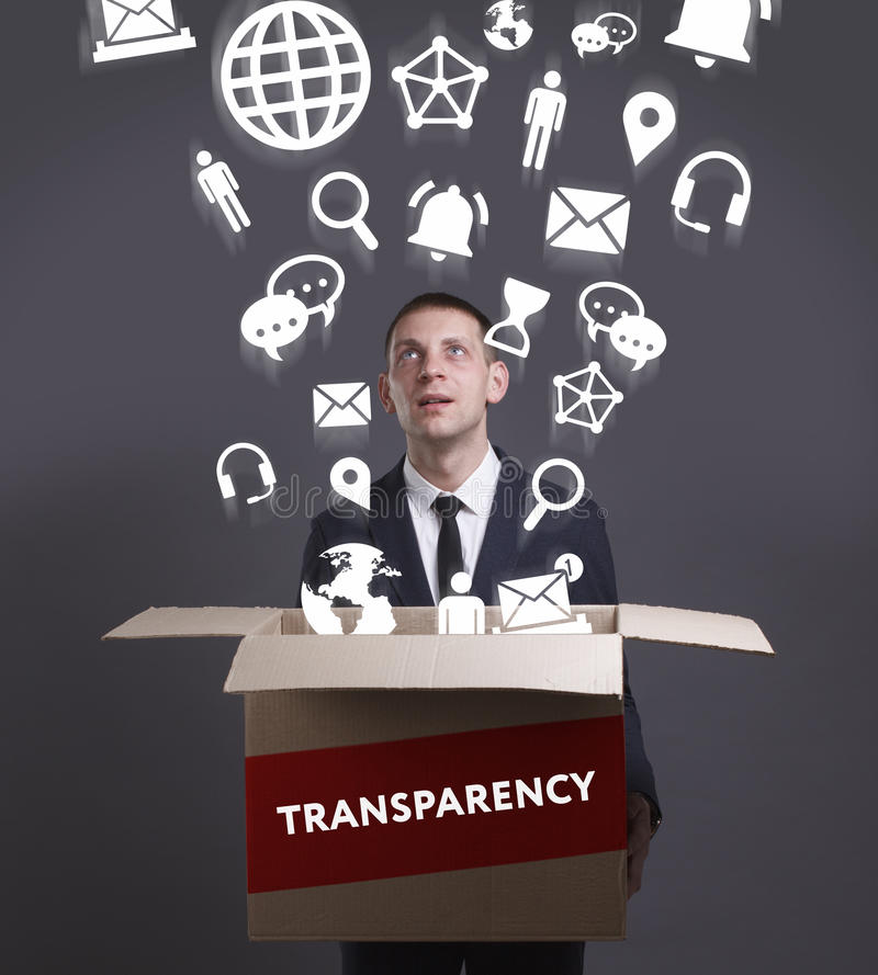 Business, Technology, Internet and network concept. Young businessman shows the word: Transparency stock image