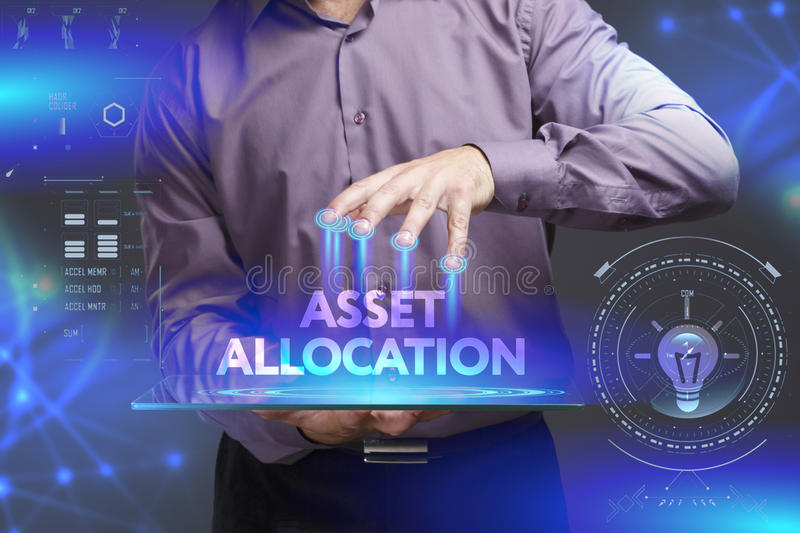 Business, Technology, Internet and network concept. Young businessman shows the word on the virtual display of the future: Asset. Allocation royalty free stock photo