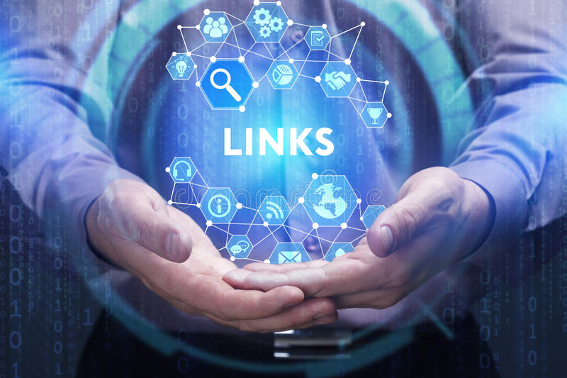 Business, Technology, Internet and network concept. Young businessman shows the word on the virtual display of the future: Links stock photography