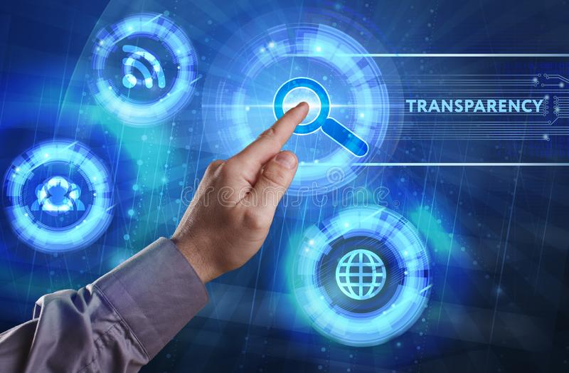 Business, Technology, Internet and network concept. Young businessman working on a virtual screen of the future and sees. The inscription: Transparency stock images