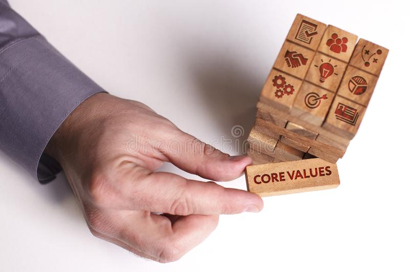 Business, Technology, Internet and network concept. Young businessman shows the word: Core values stock images