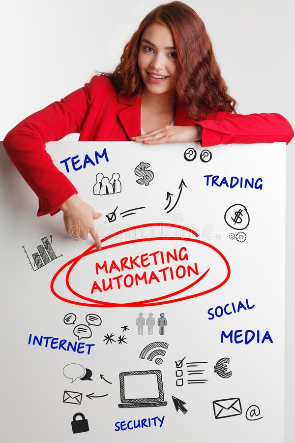 Business, Technology, Internet and network concept. Young businessman shows the word: Marketing automation - Image. Business, Technology, Internet and network royalty free stock photos