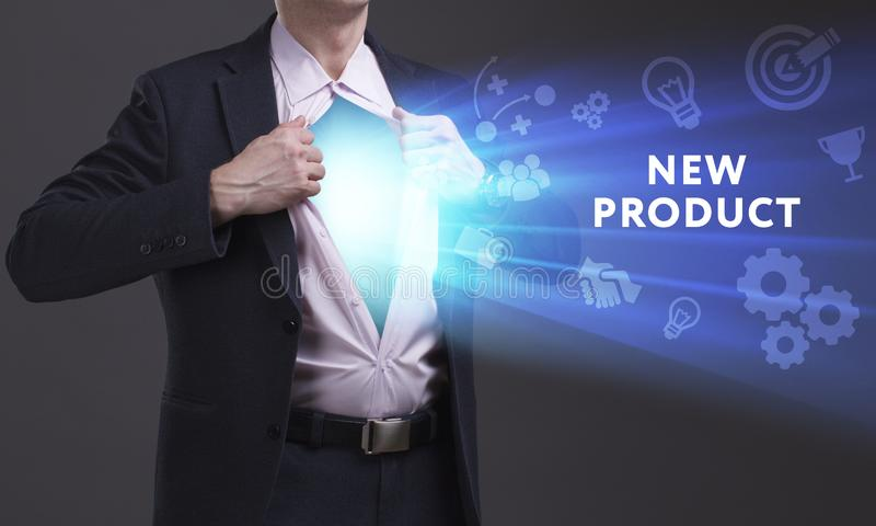 Business, Technology, Internet and network concept. Young businessman shows the word: New product stock images