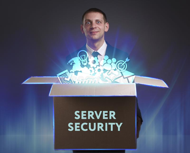 Business, Technology, Internet and network concept. Young businessman shows the word: Server security stock photos