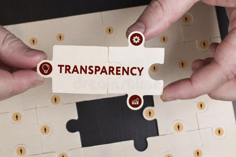 Business, Technology, Internet and network concept. Young businessman shows the word: Transparency royalty free stock photo