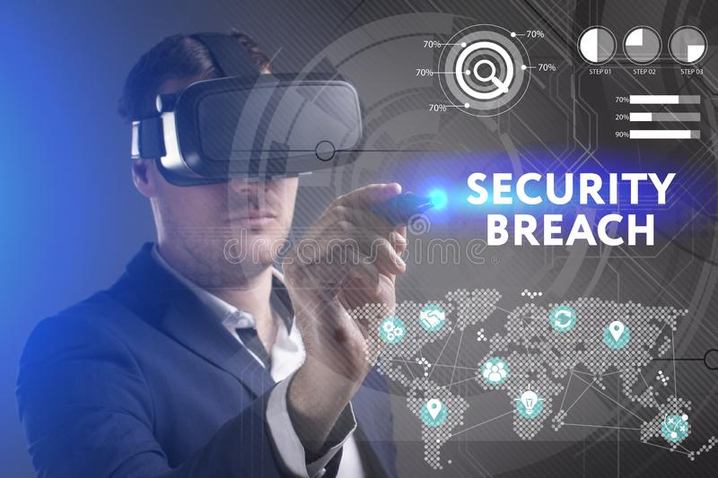 Business, Technology, Internet and network concept. Young businessman working in virtual reality glasses sees the inscription:. Security breach stock photos