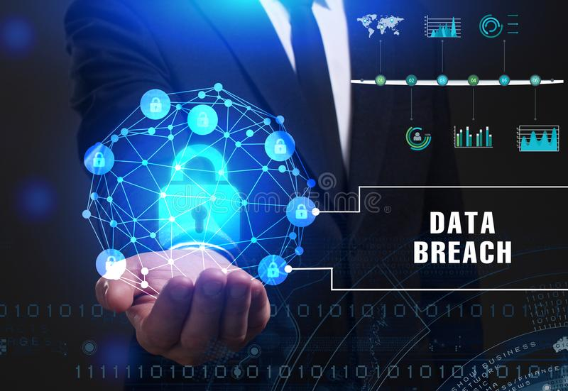 Business, Technology, Internet and network concept. Young businessman working on a virtual screen of the future and sees. The inscription: Data breach royalty free stock image