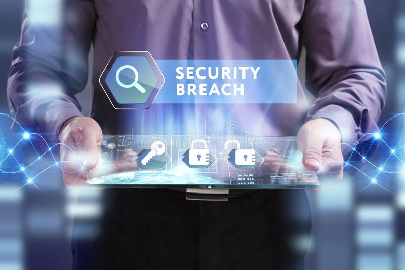 Business, Technology, Internet and network concept. Young businessman working on a virtual screen of the future and sees the. Inscription: Security breach stock photos