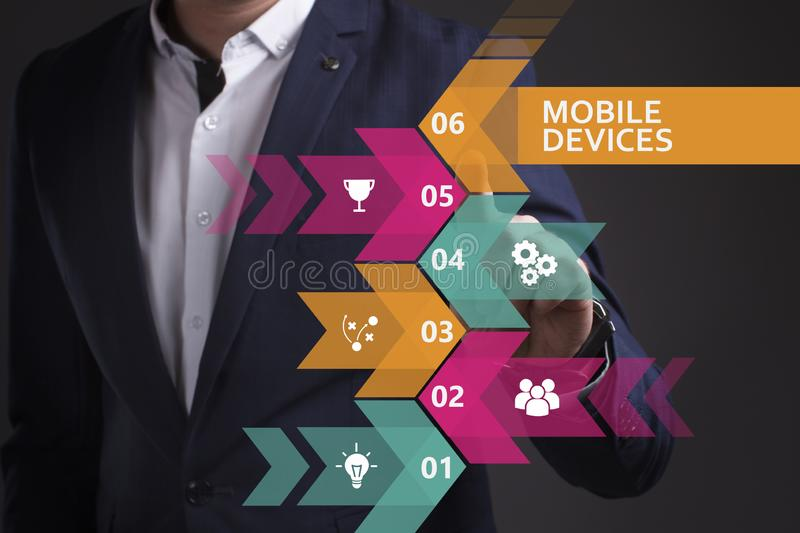 Business, Technology, Internet and network concept. Young businessman working on a virtual screen of the future and sees the. Inscription: Mobile devices stock photo