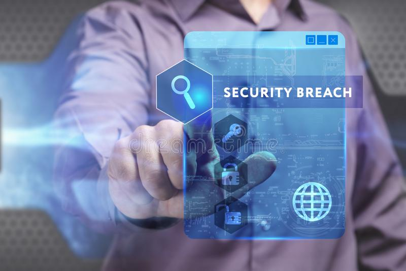 Business, Technology, Internet and network concept. Young businessman working on a virtual screen of the future and sees the. Inscription: Security breach royalty free stock photo