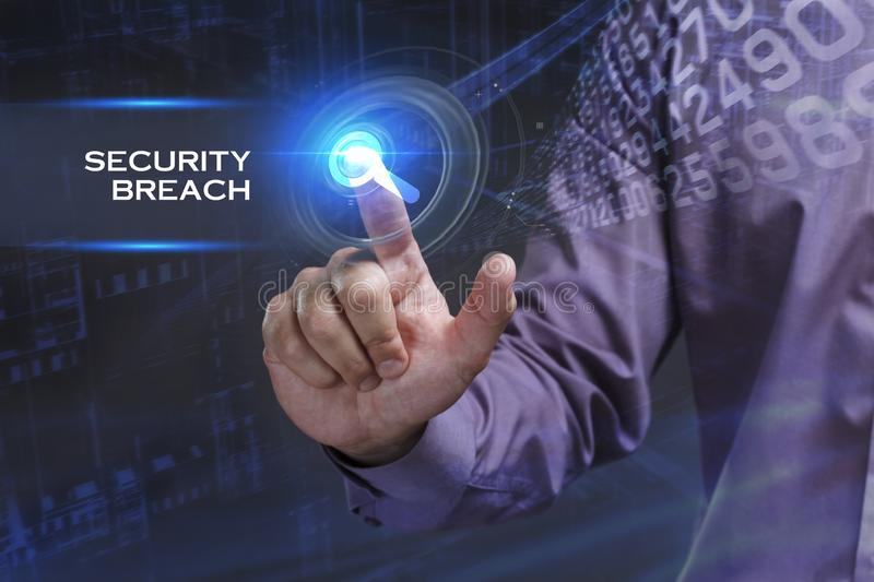 Business, Technology, Internet and network concept. Young businessman working on a virtual screen of the future and sees the. Inscription: Security breach royalty free stock photos