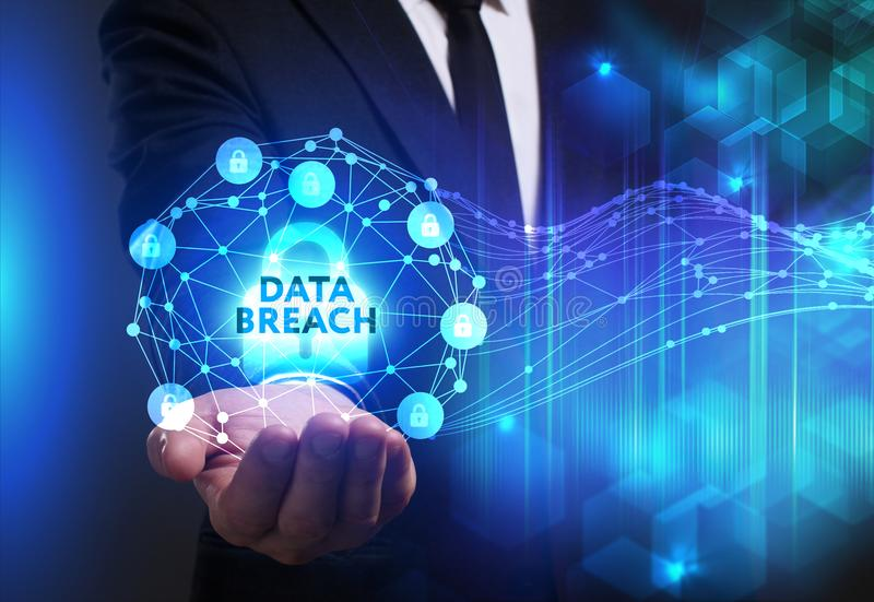 Business, Technology, Internet and network concept. Young businessman working on a virtual screen of the future and sees. The inscription: Data breach royalty free stock photo