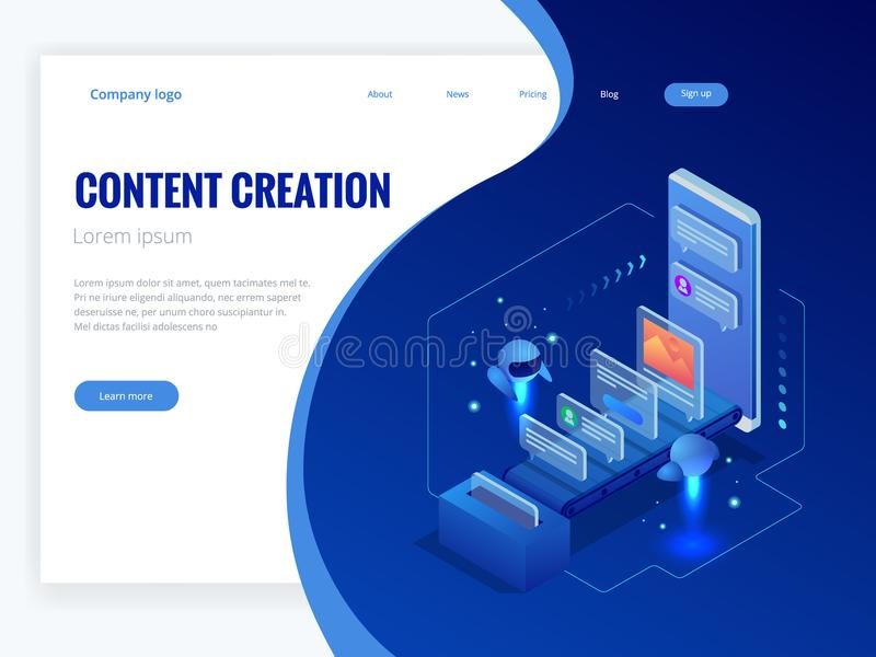 Business, technology, internet and networking concept. Content strategy, content marketing, writing, distribution vector stock illustration