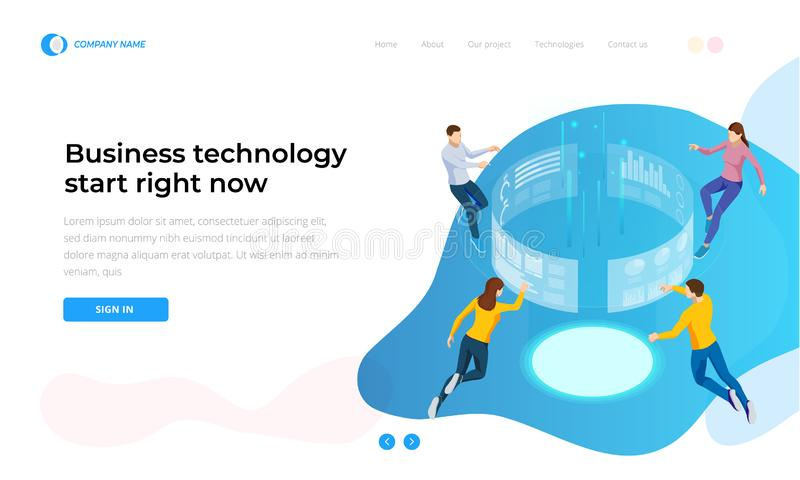 Business technology start right now. Isometric Business Data Analytics process management or intelligence dashboard on vector illustration