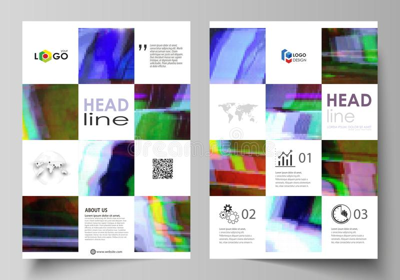 Business template for brochure, flyer, report. Cover design, abstract vector layout in A4 size. Glitched background made vector illustration