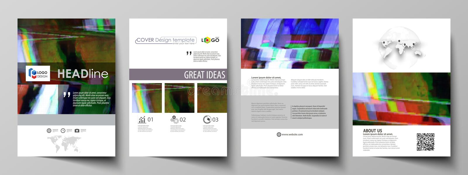 Business template for brochure, flyer, report. Cover design, abstract vector layout in A4 size. Glitched background made stock illustration