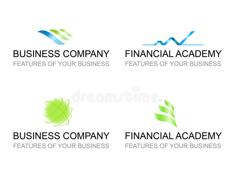 Business template set of logo signs. Business financial template set of logotypes signs