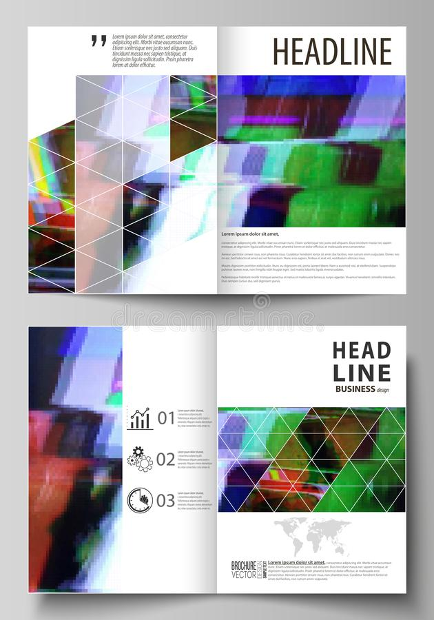 Business templates for bi fold brochure, flyer. Cover design template, abstract vector layout in A4 size. Glitched vector illustration