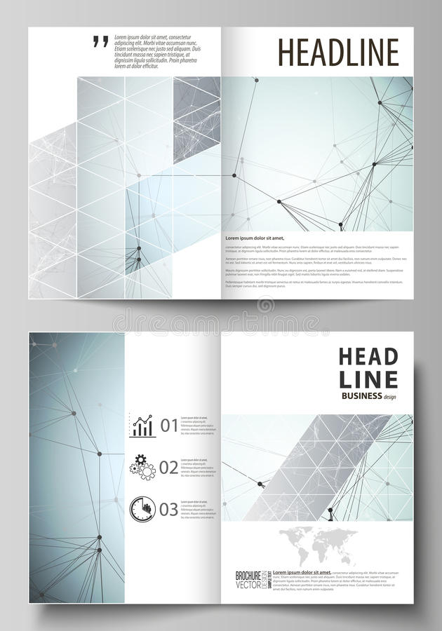 Business templates for bi fold brochure, flyer, report. Cover design template, vector flat layout in A4 size. Chemistry royalty free illustration
