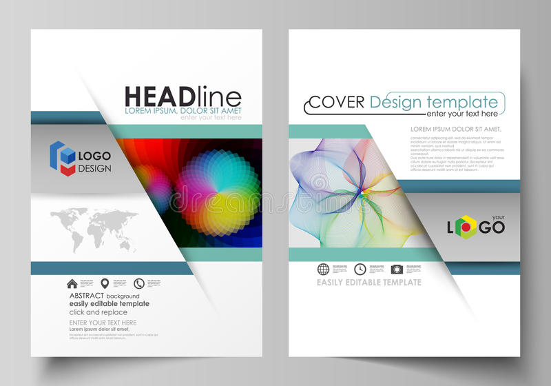 Business templates for brochure, flyer, booklet, report. Cover template, flat vector layout in A4 size. Colorful design. Business templates for brochure royalty free illustration