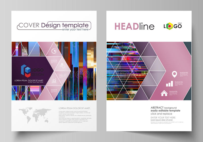 Business templates for brochure, magazine, flyer, annual report. Cover design template, abstract vector layout in A4 size. Glitched background made of colorful vector illustration